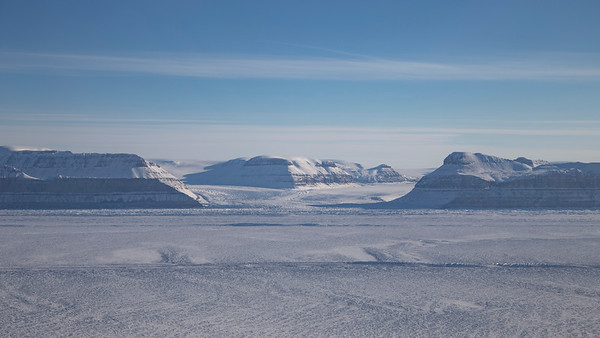 Looking up Hubert (left) and Berg (right) glaciers from over Petermann Glacier