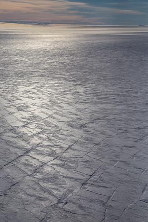 Crevasses in the sun on upper Storstrommen Glacier