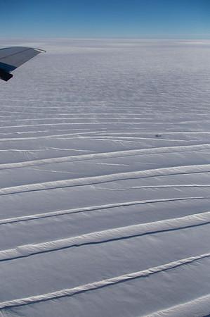 Snow-filled crevasses on the Northeast Greenland Ice Stream