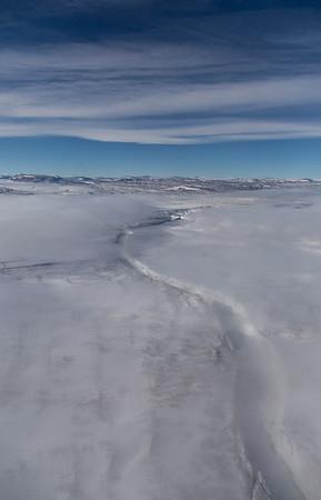 A large crevasse near the junction of L. Bistrup Brae and Storstrommen Glacier