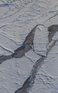 Partially refrozen leads along the science line