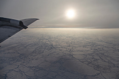 Sea ice floes in the hazy morning sun near the beginning of the science line