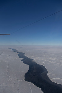 A long lead, beginning to refreeze, north of Greenland