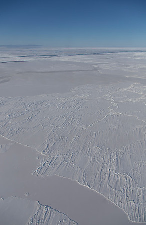 Older wind-swept, ridged sea ice amongst much younger floes