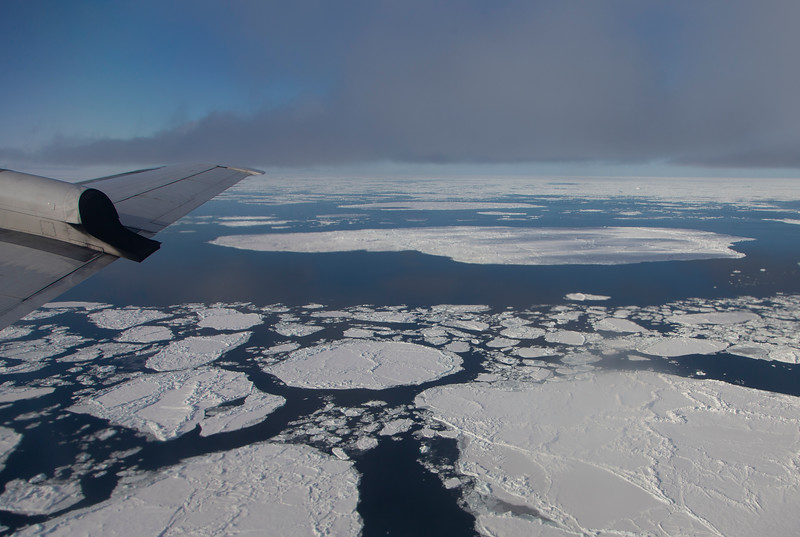 Sea ice floes floating in very calm open water of the Fram Strait