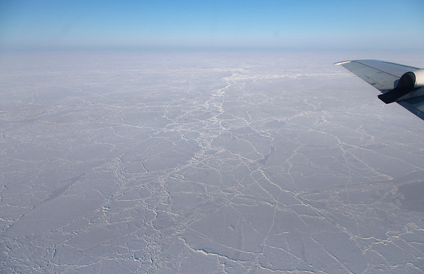 A large line of pressure ridges makes its way across the pack ice