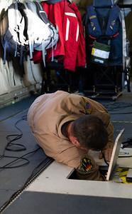 Jim working on the headwall mid-flight