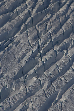 A close-up of crevasses on upper Ryder Glacier
