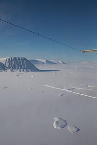 Sea ice and icebergs fill Osborn Fjord, just north of Ryder Glacier