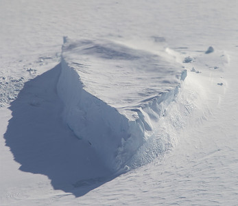 An iceberg trapped in the sea ice in Hagen Fjord