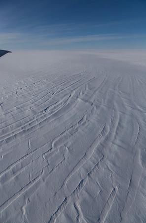Snow-filled crevasses on upper Hagen Brae
