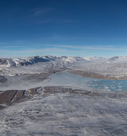 A frozen-over Ingolls Fjord and the picturesque river valley that feeds it in Crownprince Christian Land