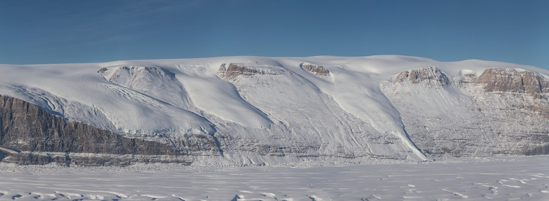 A number of hanging glaciers on Permin Land, on the west flank of Ryder Glacier