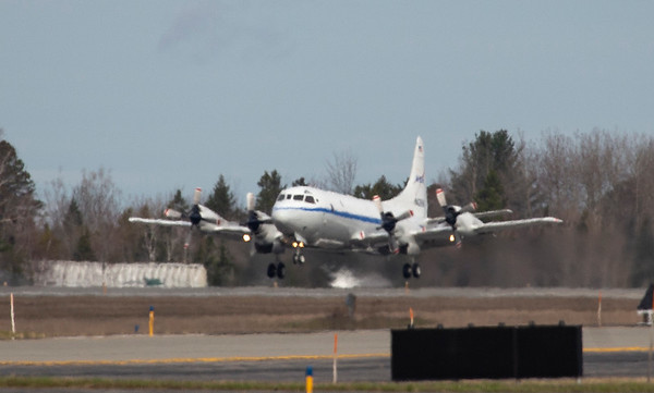 NASA 426 just taking off from the runway in Bangor