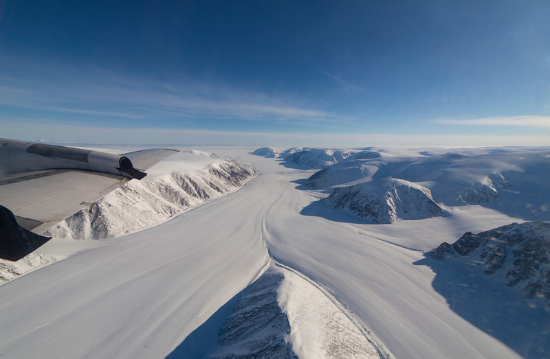 Two glaciers meet just before their terminus in the distance