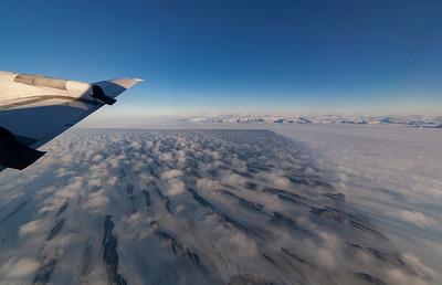 A large sea ice lead sea ice in Lady Ann Strait, sea ice and clouds forming from the open water