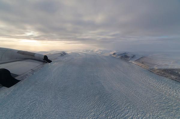 Overflying Harald Moltke Glacier, just after takeoff