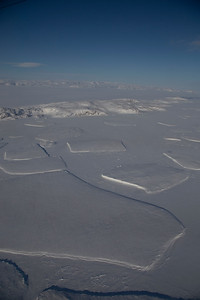 Icebergs frozen in place by fast ice on lower Zachariae Glacier