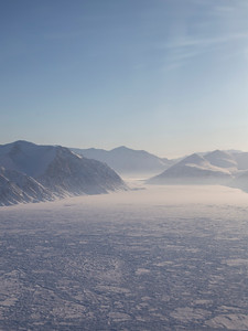 Looking up Harmsworth Glacier in Gertrund Rask Land as we turn back north for the third science line