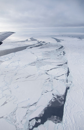 A lead in the sea ice full of ridges and rafting