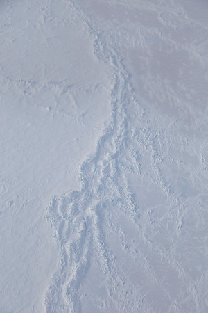 Close-up of a sea ice pressure ridge