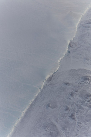 A close-up of the eastern edge of Hiawatha glacier/crater