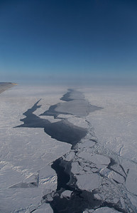 A large linear lead in the sea ice, with young nilas growing in it