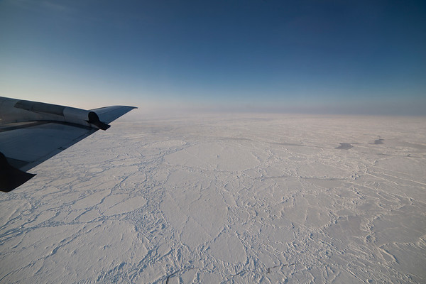 The consolidated pack ice becomes increasingly ridged and older as we near the northern coast of Greenland