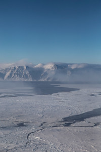 Sea ice and leads  in the Nares Strait; Ellesmere Island in the background