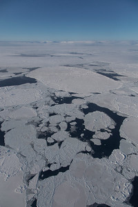 Individual, ridged pans of ice in Nares Strait