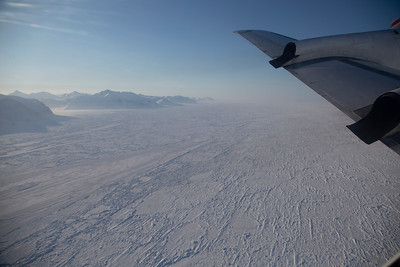 Thick, consolidated pack ice, held fast to the northern Greenland coast