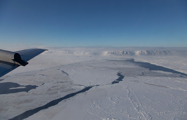 Sea ice leads  in the Nares Strait, Ellesmere Island in the background