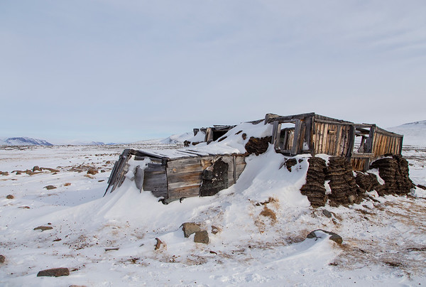 Abandoned Greenlandic sod house. The Arctic entry is on the left.
