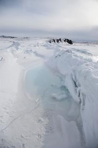 A tidal pool on the shorefast sea ice