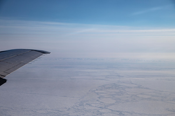 Meighen Island in the distance, surrounded by sea ice