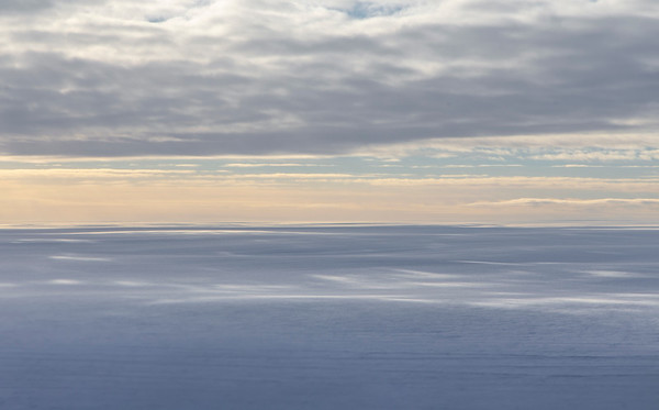 Looking south across the Greenland ice sheet from upper Ostenfeld Glacier