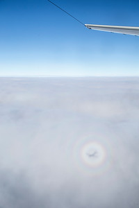 A glory around the shadow of the P-3 in the clouds below us