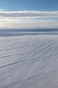 Snow-filled crevasses on upper Ryder glacier