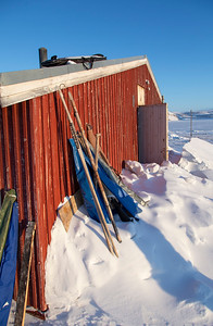Close-up of some of the hunting and fishing tools left outside by the visiting Inuits