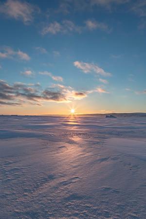 Sunset across the sea ice