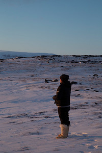 Anelouise enjoying the sunset over the ice