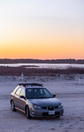 My car out on the Assateague Island beach
