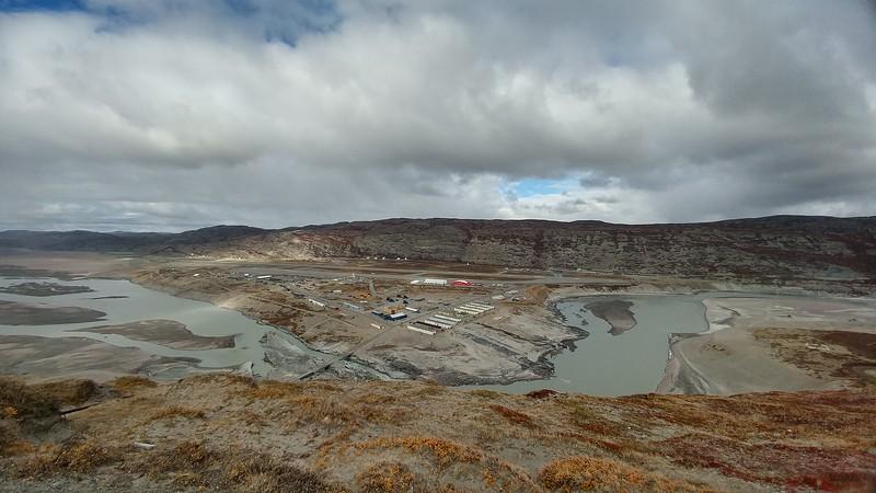 View from Black Ridge over Kangerlussuaq, the Qinnguata Kuussua (Watson River) wrapping around town