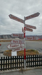 """The """"famous"""" city distances sign at the Kanger airport hotel"""