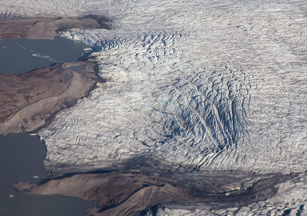 A lake-terminating glacier in east Greenland, north of Kanger