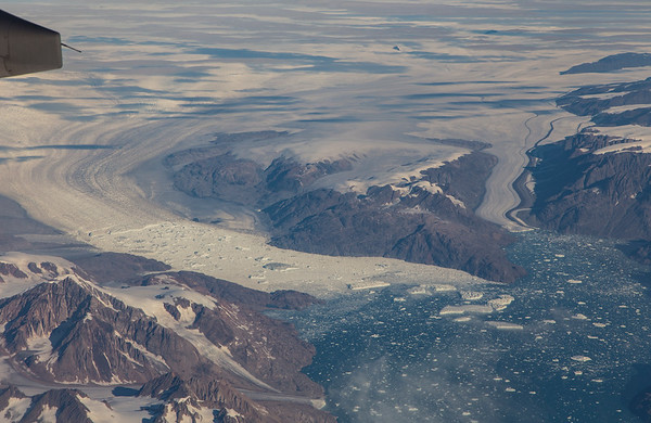 Kangerdlussuaq (left) and Nordfjord (right) glaciers in eastern Greenland