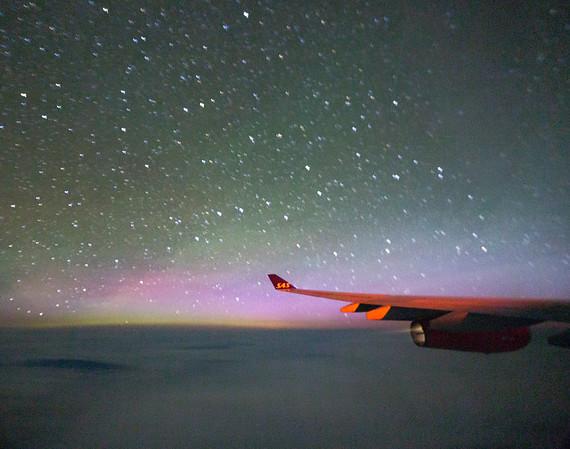 I see the Aurora over Greenland, as I head to Copenhagen