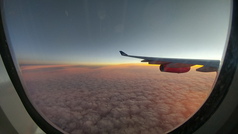 A beautiful sunrise out my window over the North Atlantic