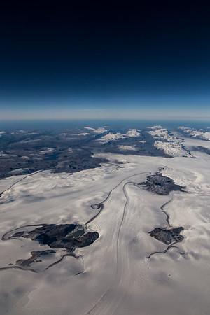 Medial moraines just east of Sermilik Glacier