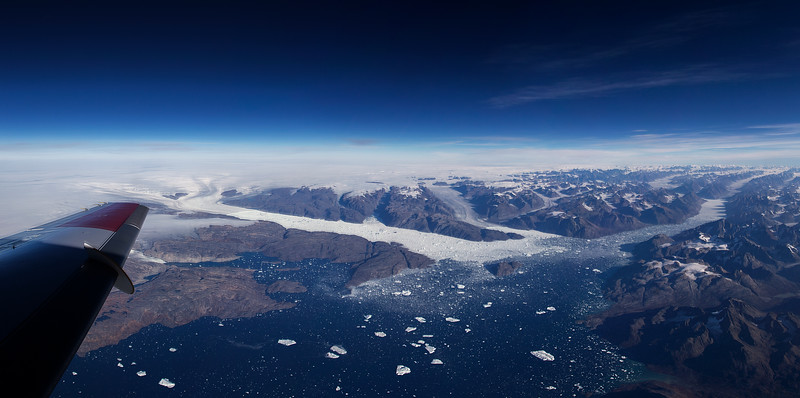 From left to right, Helheim, Fenris and Mitgard glaciers